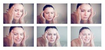 Frau, die eine Migräne hat Stockfotos