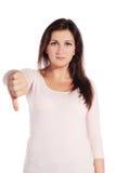 Frau, die eine negative Geste bildet Stockbilder