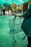 Frau, die eine Supermarktlaufkatze tr?gt lizenzfreie stockbilder