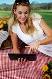 Frau, die eine Tablette auf einem Picknick verwendet Stockfoto