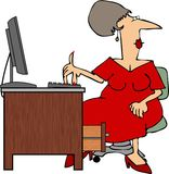 Frau, die an einem Computer arbeitet stock abbildung