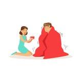 Frau, die einem gefrorenen Mann eingewickelt im Rot eine Decke, Illustration Vektor der ersten Hilfe hilft vektor abbildung