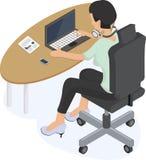 Frau, die an einem Laptop arbeitet lizenzfreie abbildung