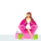 Frau, die in einem rosafarbenen Stuhl sitzt lizenzfreie abbildung