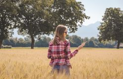 Frau, die in einem Weizen archiviert aufwirft stockfoto