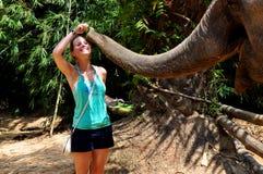 Frau, die einen Elefanten speist Lizenzfreies Stockfoto