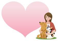 Frau, die einen Hund und eine Katze hält vektor abbildung
