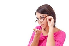 Frau, die einen Kuss durchbrennt Lizenzfreies Stockbild