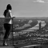 Frau, die einen Panoramablick von Wien genießt Stockfoto