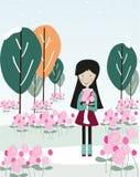 Frau, die einen Rosenrosengartenvektor hält Stockfotografie