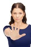 Frau, die Endgeste bildet Lizenzfreie Stockfotografie