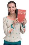 Frau, die Englisch lernt lizenzfreie stockfotografie