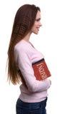 Frau, die Englisch lernt Mädchen mit einem Buch stockfotografie