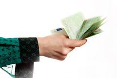 Frau, die Eurobanknoten hält Lizenzfreies Stockbild