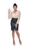 Frau, die fünf Finger zeigt stockbilder