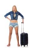 Frau, die für die lange Reise lokalisiert sich vorbereitet Lizenzfreies Stockfoto