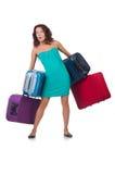 Frau, die für Ferien sich vorbereitet Stockbild