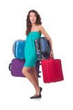 Frau, die für Ferien sich vorbereitet Lizenzfreie Stockfotografie