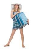 Frau, die für Sommerferien sich vorbereitet Stockbilder