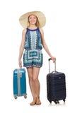 Frau, die für Sommerferien sich vorbereitet Lizenzfreies Stockfoto