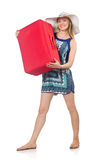 Frau, die für Sommerferien sich vorbereitet Lizenzfreie Stockfotos