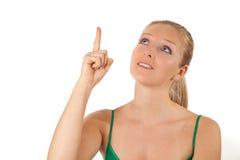 Frau, die Finger zeigt Stockfoto