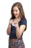 Frau, die Finger zeigt Stockbild