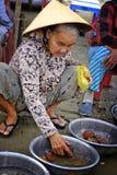 Frau, die Fische auf dem Strand verkauft lizenzfreies stockfoto