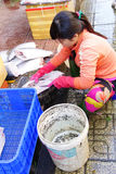 Frau, die Fische in Saigon vorbereitet Stockfotos