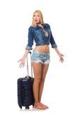 Frau, die für lange Reise sich vorbereitet Lizenzfreies Stockfoto