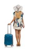 Frau, die für Sommerferien sich vorbereitet Stockbild