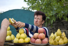 Frau, die Früchte durch Straßenrand, Ukraine verkauft Lizenzfreie Stockbilder