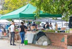 Frau, die frisches lokales Gemüse vom Bauernhof am Markt verkauft lizenzfreie stockfotos