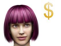 Frau, die an Geld denkt Stockfotografie