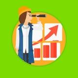 Frau, die Gelegenheiten nach Geschäftswachstum sucht lizenzfreie abbildung