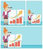 Frau, die Gelegenheiten nach Geschäftswachstum sucht stock abbildung