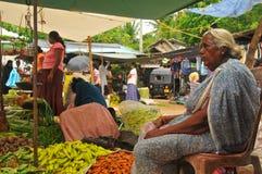 Frau, die Gemüse am Markt (Sri Lanka, verkauft) Lizenzfreie Stockfotografie