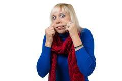 Frau, die Gesichter macht Lizenzfreies Stockfoto