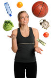 Frau, die gesunden Lebensstil jongliert Lizenzfreie Stockbilder