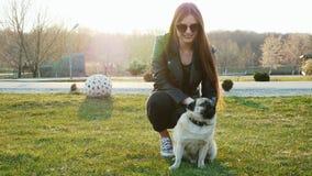 Frau, die gl?cklichen Pughund im sonnigen Park verkratzt stock video footage