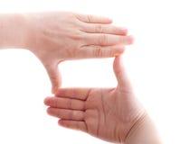Frau, die Hände verwendet Stockbild