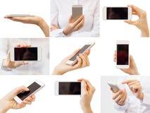 Frau, die Handy, Collage von verschiedenen Fotos hält Stockbild