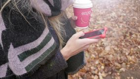 Frau, die Handy verwendet stock footage