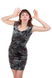 Frau, die heraus ihre Zunge haftet Lizenzfreie Stockfotografie