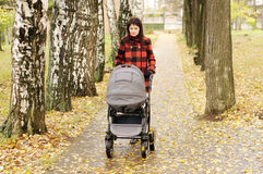 Frau, die in Herbstpark mit Buggy geht Stockfotografie