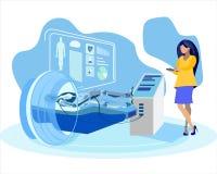 Frau, die Humanoid flache Vektor-Illustration überprüft lizenzfreie abbildung