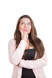 Frau, die Ideen wählt, denkt oder erwägt Stockbild
