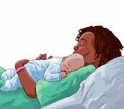 Frau, die ihr Baby hält Lizenzfreie Stockfotos