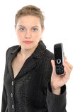 Frau, die ihr Telefon zeigt Stockbilder