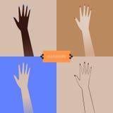 Frau, die ihre Maniküre zeigt Schöne Frauenhand ansammlung Stockbild